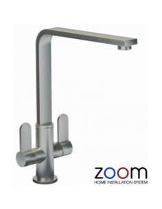 ZP1026 Abode Vito Kitchen Tap Monobloc Brushed Nickel Twin Levers