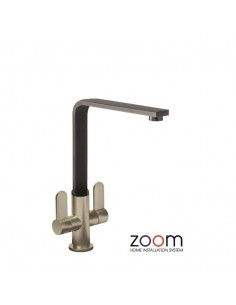 ZP1028 Abode Vito Kitchen Tap Monobloc Brushed Black Twin Levers