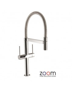 ZP1031 Abode Stelvio Pro Kitchen Tap Monobloc Spray Chrome Black Twin Levers