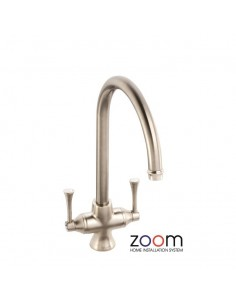 ZP1033 Abode Gosford Kitchen Tap Monobloc Brushed Nickel Twin Levers