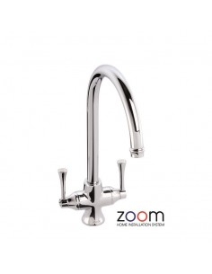 ZP1032 Abode Gosford Kitchen Tap Monobloc Chrome Twin Levers