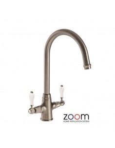 ZP1036 Abode Ludlow Kitchen Tap Monobloc Brushed Nickel Twin Levers