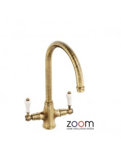 ZP1037 Abode Ludlow Kitchen Tap Monobloc Antique Bronze Twin Levers