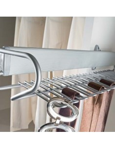 Pull Out Tie & Belt Rack Side Mounted Unhanded Steel Silver