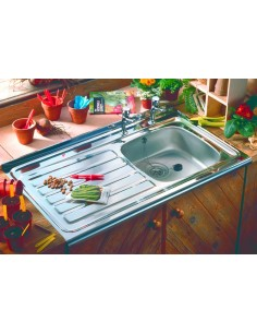 Sit-Lay On Roll Top Kitchen Sinks Stainless 1.0 Bowl 500mm Depth