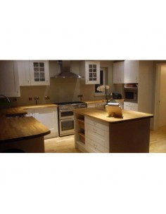 STAMFORD SOLID WOOD PAINTED OAK SHAKER & WALNUT BLOCK TIMBER WORKTOPS