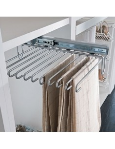 Pull Out Trouser Rack Silver Finish Full Extension Runners