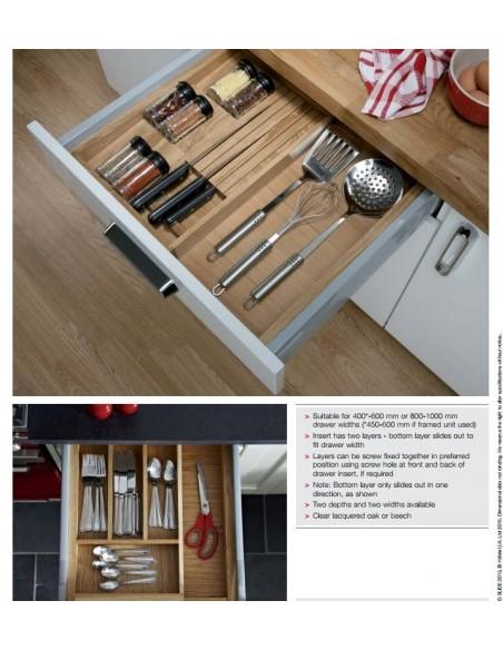 Expanding Cutlery Tray Insert Beech/Oak To Suit 500mm Depth