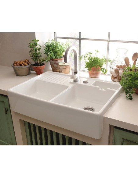white porcelain double kitchen sink 6323691r1 villeroy amp boch butler 90 ceramic belfast 1859