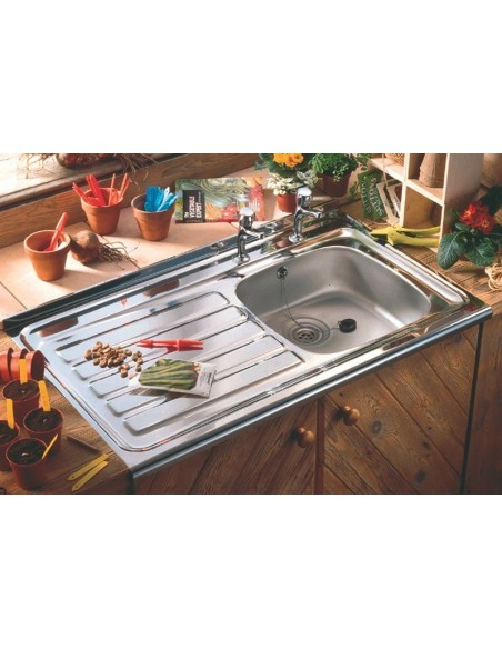 Lay Sit On Kitchen Sinks, Roll Front 1000 x 600mm, Double Tap Hole ...