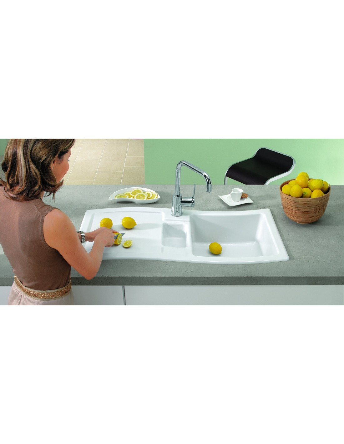 new wave ceramic sink by villeroy boch 1 5 bowl drainer 671601. Black Bedroom Furniture Sets. Home Design Ideas